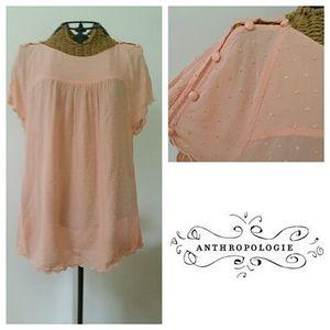 MAEVE peachy dot button shoulder blouse 6